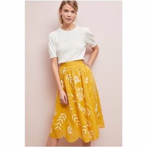 RARE Anthropologie Vineland Embroidered Midi Skirt